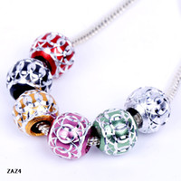 Wholesale mm Charm Mix Colorl Carved Shape Aluminium Beads Spacer Loose Big Hole Fit Bracelet European Jewelry Making ZAZ4