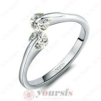 Wholesale Unique Rhodium Plated Jewelry K White Gold Planted Use White Crystal Simulation of Diamond Engagement Wedding Party Ring R073W1