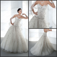 Reference Images Sweetheart Lace-up Luxurious A Line Wedding Dresses Sweetheart Sleeveless Beaded Crystal Sequin Ruffles Lace Up Back Court Train Bridal Gowns Demetrios 534