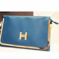 Wholesale high quality fashion genuine leather h buckle day clutch envelope small bag cross body women s handbag