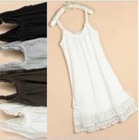 basic skirt - Summer women s female cotton lace flowers slip basic skirt full dress a