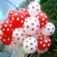Wholesale Hotsale dot latex balloons quot inch g white mix red dot for wedding favor brithday decor balloons B003 HK in