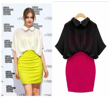 2013 Fashion New Dresses Women Western Chiffon Patchwork Short ...