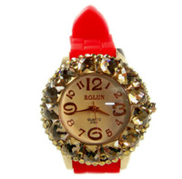 Wholesale 2013 New Luxury Women Watches Fashion Diamond Jelly Candy Silicone Quartz Watch for Lady Gift