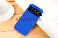 Wholesale Flip Cover leather case with Crystal Plastic Screen Protector on open window Front S VIEW Cases for samsung galaxy s4 i9500 Retail Box