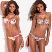 Wholesale Sexy Swimsuit for Women Swimwear Bikini Halter Bathing Suits Bandeau Brazilian Floral Print Bohemian Push Up pieces Designer Re210