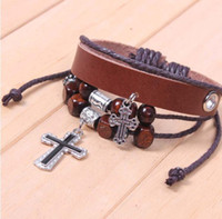 Wholesale High Quality European Style Leather Cross Bracelet Fashion Jewelry