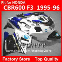 Wholesale Free gifts ABS Plastic fairing kit for Honda CBR600 CBR F3 fairings G4C high grade KONICA blue white motorcycle parts