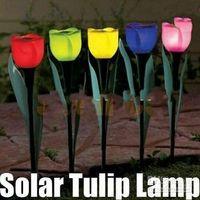 Wholesale Outdoor Yard Garden Path Way Solar Power LED Tulip Landscape Flower Lamp Lights