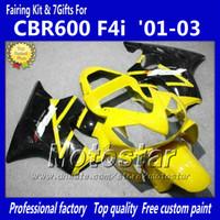 Wholesale 7 Gifts fairings bodywork for HONDA CBR600F4i CBR600 F4i CBR F4i black yellow motorcycle fairing jj79