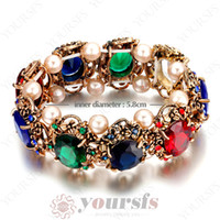Tennis sapphire bracelet - Brillante K gold plated Environment friendly Alloy Bangle Use Colorful Crystal Sapphire Pearl Stretch friendship bracelet B090R3
