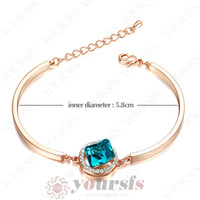 Women's sapphire bracelet - Fashion gift K gold plated Environment friendly Crystal Bangle K Gold Plated Sapphire Cubic zincon anchor bracelet B092R2