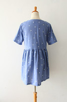 Strapless A Line Light Blue South Korean star pentagram print loose cotton dress high waist retro stylenanda 0114 bf
