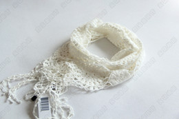 Wholesale baby girl kids crochet scarf lace scarf hollow knitted crocheted floral flower knit Scarves ruffle scarf