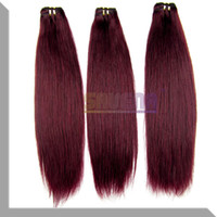 Wholesale 2PCS J RED WINE g Straight Ombre Hair Brazilian Human Hair Weft Extension High Quality Hair Weaves Burgundy Color Hair