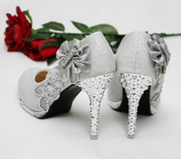 Wholesale women pumps beautiful Silver Vogue lace Flowers Crystal High Heels Wedding Bridal Shoes