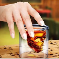 Wholesale 75ml Fashion Thick Skull Head Glass Cup for Drinking Glass Jars Skull Vodka Whiskey Shot Cup Home Bar Decor GZ008