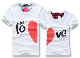 Wholesale New Korean couples dress summer T shirt men amp women heart LOVE printing couple of lovers t shirt white amp black