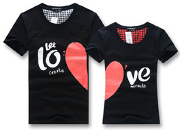 Wholesale New Korean couples dress summer T shirt men heart LOVE printing couple of lovers t shirt white amp black color