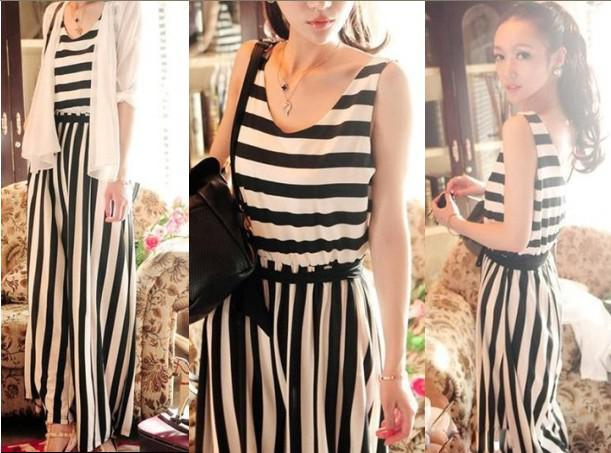Vintage White Black Striped Jumpsuit for Women Rompers Off ...