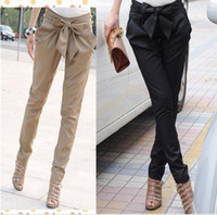 Wholesale EAST KNITTING AS high waist women s Skinny Long Trousers OL casual Bow harem pants plus size Black Khaki
