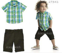 90-100-110-120-130 Boy 100% Cotton boys clothing Green plaid square-cut collar pure cotton Short sleeve T Shirt + shorts 2pcs kids suit 2-6year baby set