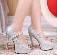Wholesale Star Fashion Wedding Diamond Fish Mouth shoes CM with crystal bride bridesmaid shoes banquet