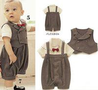 0-3 Months baby clothes for boys - Children s Clothing set baby wear boy s handsome clothes set vest romper set for summer xz