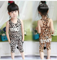 Wholesale 2013 Hot New Children s suit Girls Leopard sets Children vest pants suits kids summer sets