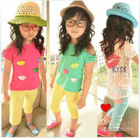 Wholesale New Arrival Children t shirts Girls candy colors bottoming shirt kids lace tops summer clothes