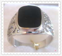 Wholesale Men s Ring New Black Onyx K GP White Gold men s Ring Shipping free Three pieces of price concessions