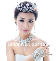 Wholesale Crowns accesories Bride headpieces flower Wedding Tiara jewelry set bridal Headdress Crystals NC0167