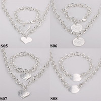 Wholesale Fashion Jewelry Styles Mix Styles Sterling Silver Charms Pendants Links Chain Necklace Bracelet Jewelry Set