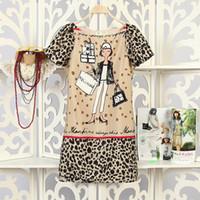 Wholesale European style Women summer chiffon elegant splice round collar short leopard sleeve gril printing sheath skirt party evening runway dress
