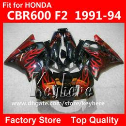 Descuento 91 carenados honda cbr Kit de carenado de 7 regalos para Honda CBR 600 91 92 93 94 CBR600 1991 1992 1993 1994 F2 carenados G4C venta caliente llamas rojas negro moto piezas