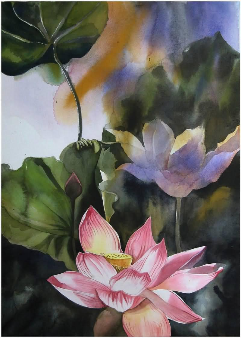 Abstract Watercolor Lotus Lotus Watercolor Art Prints