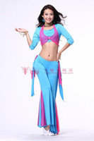 Cheap 2013 belly dance dancing tribal costumes(middle sleeves tops+pants+Shawl) 3 pieces set stage wear for women