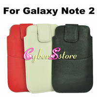 Wholesale 150pcs Litchi Slim Holster Belt Clips Leather Pouch Bag Case Cover With Two Pockets for Samsung Galaxy Note N7100 Note N7000 I9220