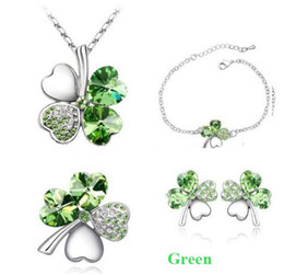Wholesale Prom Full Four Leaf Clover Crystal Jewelry Set Fashion Womens Jewellery