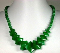 Wholesale Beautiful Jewelry Chinese Green Jade square Necklace