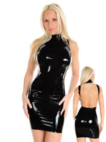 Wholesale 2013 New Arrival Style Fashion Brand Lycar Spandex Wetlook Sexy Women Costume Clubwear Lingerie Dress Gothic Beauty Black Color