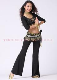 Wholesale 2013 best selling dance dancing practising costumes middle sleeves tops practising pants tribal hip scarf set stage wear