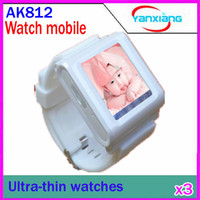 Wholesale DHL Watch Phone AK812 Inch Touchscreen Tri band GSM Language Customizable Bluetooth MP4 MP3 RW PH