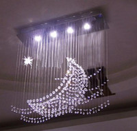 Wholesale Modern LED Mooon And Star Clear K9 Crystal Pendant Light Chandelier Living Room Light cm Bulbs