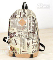 Men Plain Canvas HOT Fashion newspaper backpack New world map travelling bag good quality Free shipping