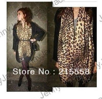 Wholesale New Fashion Scarf Leopard Scarf Cashmere Like Animal Print Scarves Stole Wrap Poncho