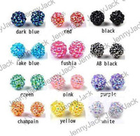 Resin Shamballa Beads basketball wives loose beads - PcsX mm Rhinestone Shamballa Resin Beads Fit for Bracelet Loose Disco Balls For DIY Basketball Wives Jewelry