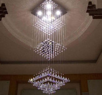 Wholesale Modern LED Three Cubes K9 Crystal Pendant Light Chandelier Living Room Light cm Bulbs