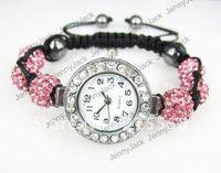 Wholesale Fashion Bling Shamballa Bracelet Watch Pave Crystal Disco Beads Quartz Shamballa Watch Xmas Gift