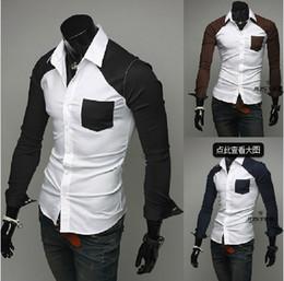 Wholesale 2013 new spring sleeve patch pocket hit color shirt striped long sleeved shirt Slim Korean version